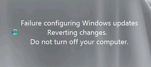 failure configuring windows updates reverting changes windows 7 dell